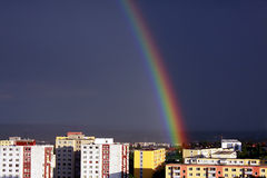 Rainbow over the city (2). Colorful rainbpw over the city Nitra in Slovakia Royalty Free Stock Photos
