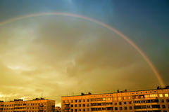 Rainbow over the city Stock Photo