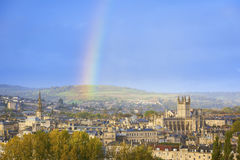 Rainbow Over City of Bath, England, UK Stock Image