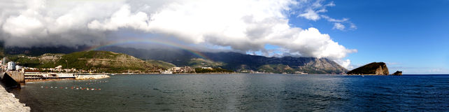 Rainbow over the city of Budva Royalty Free Stock Photography
