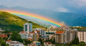 Rainbow over the city of Budva Royalty Free Stock Image