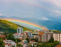 Rainbow over the city of Budva Stock Photography