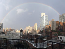 Rainbow. Over the city of New York royalty free stock images