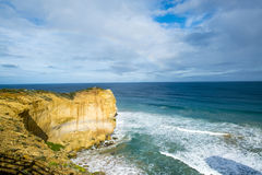 Rainbow over Cliff. Located near the Twelve Apostles Rock formation, along the Great Ocean Road Australia Royalty Free Stock Photos