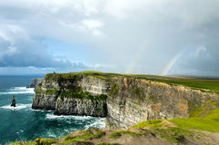 Rainbow over Cliffs of Moher Stock Photo