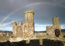Rainbow Over the Conwy Castle, Wales, UK Stock Photography