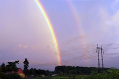 Rainbow Over Countryside Stock Image