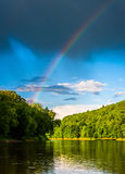 Rainbow over the Delaware River, at Delaware Water Gap National Stock Images