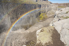 Rainbow over the Dettifos waterfall - Iceland. Stock Photos