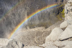 Rainbow over the Dettifos waterfall - Iceland. Royalty Free Stock Photography