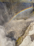 Rainbow over the Dettifos waterfall - Iceland. Royalty Free Stock Image
