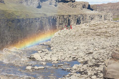 Rainbow over the Dettifos waterfall - Iceland. Stock Images