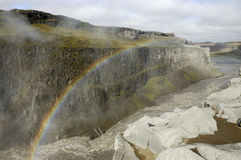 Rainbow over Dettifoss gorge, Iceland.