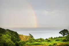 Rainbow over Donegal Bay, Killybegs, West Ireland Royalty Free Stock Image