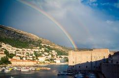 Rainbow over Dubrovnik Stock Image