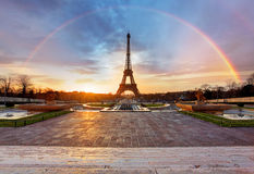 Rainbow over Eiffel tower, Paris Royalty Free Stock Photography