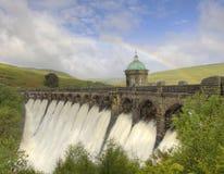 Rainbow over the Elan Valley Dam. Rainbow over the Elan Valey dam Royalty Free Stock Photo