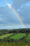 Rainbow over the English countryside royalty free stock photo