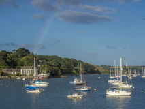 A Rainbow over Falmouth Harbour. Royalty Free Stock Images