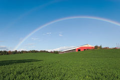 Rainbow Over Farm Field Royalty Free Stock Images