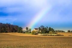 Rainbow over Farmhouse Royalty Free Stock Photo