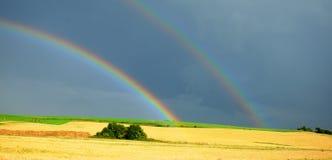 Rainbow over the field Stock Photo