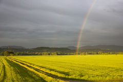 Rainbow over the field Italy Stock Photo