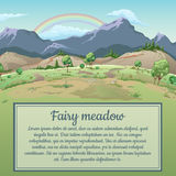 Rainbow over field and mountains and space for text. Rainbow over field and mountains Royalty Free Stock Photography