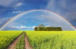 Rainbow over field Royalty Free Stock Photos