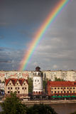 Rainbow over the Fishing Village, Kaliningrad Stock Photography