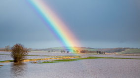 Rainbow Over Flooded Land After Storm Royalty Free Stock Image