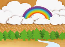 Rainbow over forest. Stock Image