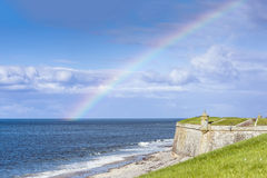 Rainbow over Fort George, Scotland Stock Image