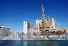 A rainbow over the fountains at the Bellagio Hotel and Casino Las Vegas Stock Photography