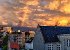 Rainbow over Frederiksberg, Copenhagen, Denmark. View over Frederiksberg after the rain in the early evening Royalty Free Stock Images