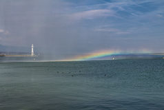 Rainbow over the Geneva Lake Stock Image