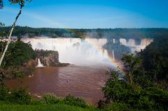 Rainbow over gorgeous waterfalls of Iguazu, Brazil Stock Image