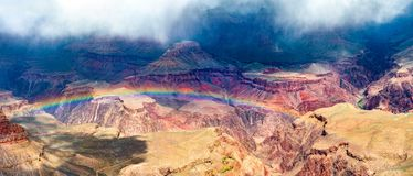 Rainbow over the Grand Canyon in Arizona, USA royalty free stock image
