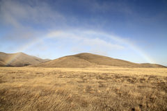 Rainbow over the grassland of new zealand Stock Images