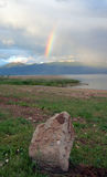 Rainbow over  Great lake prespa, macedonia Royalty Free Stock Photography