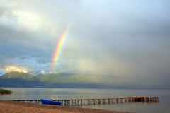 Rainbow over  Great lake prespa, macedonia Royalty Free Stock Photos