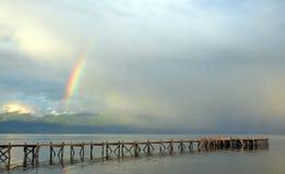 Rainbow over  Great lake prespa, macedonia Stock Photos