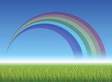 Rainbow over green field. Illustration of rainbow over green field with blue sky background Stock Images