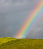 Rainbow over the green field Royalty Free Stock Photography
