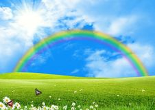 Rainbow over a green glade Stock Photos