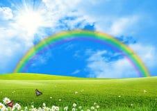 Rainbow over a green glade. The blue sky and the sun Stock Photos