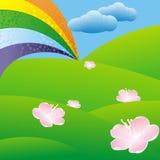 Rainbow over green meadow Royalty Free Stock Photos