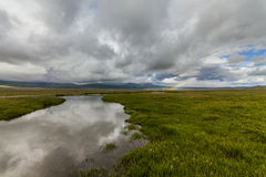 Rainbow over the green meadow Stock Photos
