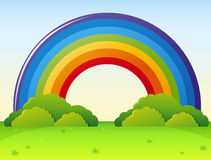 Rainbow over the green park. Illustration vector illustration