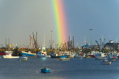 Rainbow over harbor Stock Images
